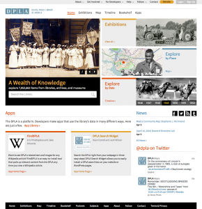 Digital public library of America homepage